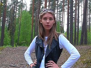 Megan is walking with her boyfriend in the park. The girl is very naughty and she begins to seduc...