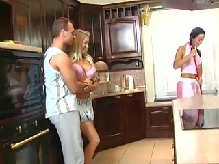 Babe with the most beautiful body vigorously rides the dick in kitchen