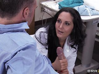 sexy doctor goes down on her patient