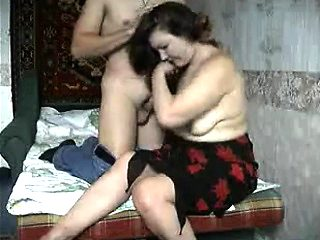 nasty mature seducing Russian guy to lick her pussy