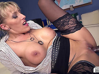 Obscene German mother I'd like to fuck secretary receives happy by BBC in sexy interracial act me...
