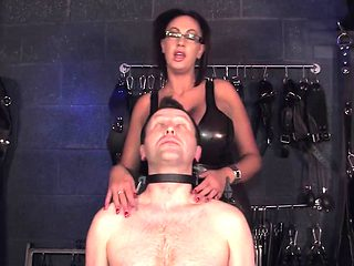 Femdom humiliates sub by having man blow him