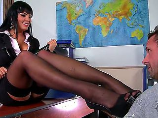 Crazy hot and naughty teacher Jasmine Black frolics with young student in the classroom
