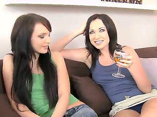 Pretty girlfriends Nataly Von and Raffaella are got invited to their friends house, after the got...