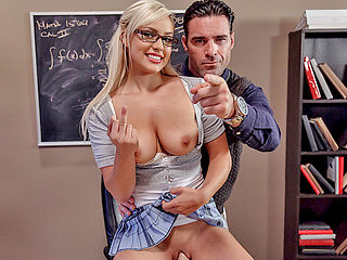 Busty math wiz Kylie Page fucked and jizzed by her teacher