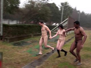 Interracial Gangbang In The Rain