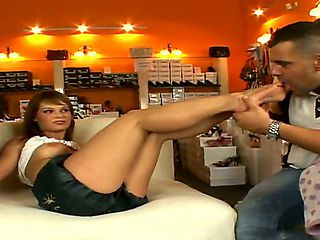 This horny sexy milf adores her feet being worshiped and caressed! Jenny hunts two cute guys Rena...