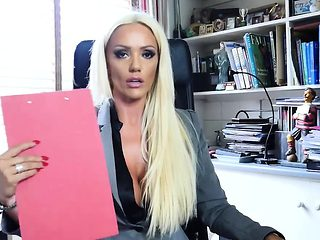 Hot office boss Lucy Zara in black panties and silky nylons