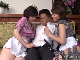 Naughty Japanese AV model and sexy maid share hard cock