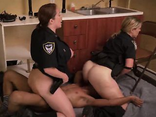 Horny female police officers seduce and fuck black guy