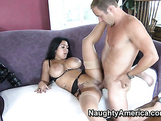 Jack Lawrence pops out his snake to fuck Sienna West with gigantic tits and hairless pussy
