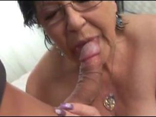 Grandma's Hot Shaved Twat Gets Cum Dumped In Her