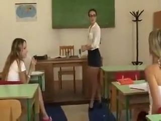 Lesbian teacher punishes schoolgirls