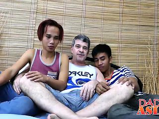 Horny Daddy in threesome with young assian horny studs