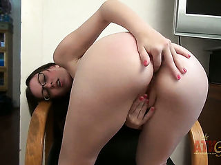 Ally Evans with smooth beaver cant stop toying her cunt