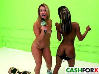 Two horny girls do it for bucks
