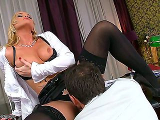 Kathia Nobili is the office skank and she is showing it once again. She is getting licked in the ...
