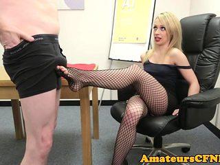 CFNM fetish babe gives sloppy footjob