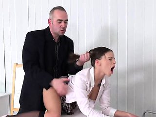 Pretty schoolgirl gets seduced and screwed by her aged lectu