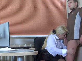 naughty russian mature love gets nailed in the office