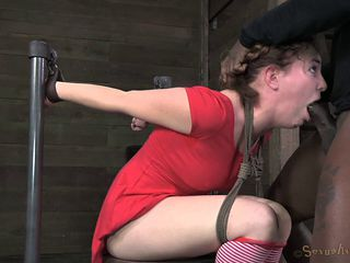 Brunette in red clothes can't believe that she has to suck cocks!