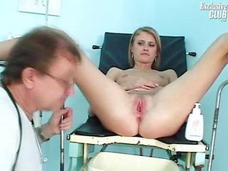 Teen pussy Kate gyno exam by old kinky gyno doctor