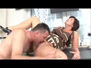 Plump housewife helps plumber