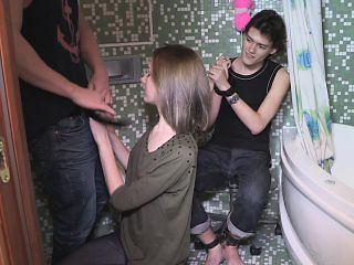 Bound cuckold watches his hot GF give a blowjob and take a pounding in the bathroom