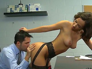 Slender bodied secretary Jada Stevens dresses hot lingerie to surprise her boss during the launch...