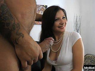 Bombastic housewife Victoria can't wait to take the fat cock into anus