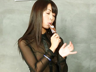 Oriental bukkake whore pussyrubbing at gloryhole