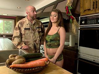 Military guy licking brunette pussy before hardcore smash in the kitchen