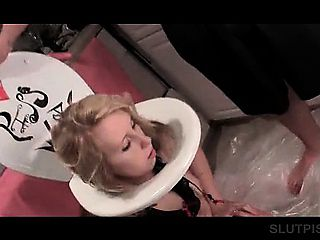 Bitchy blonde mouth fucked as piss slave