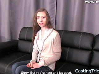 Casting petite newbie banged on film